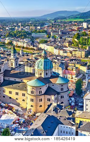 Aerial View Of The Historic City Of Salzburg In Beautiful Evenin