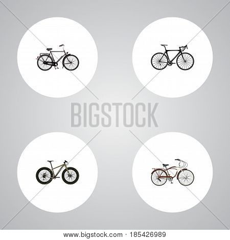 Realistic Bmx, Journey Bike, Exercise Riding And Other Vector Elements. Set Of Lifestyle Realistic Symbols Also Includes Bmx, Bicycle, Bike Objects.