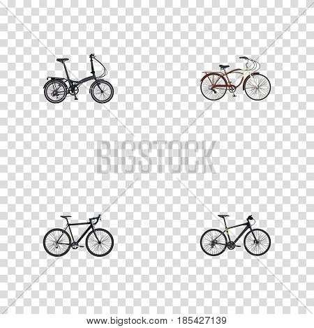 Realistic Cyclocross Drive, Folding Sport-Cycle, Hybrid Velocipede And Other Vector Elements. Set Of Bicycle Realistic Symbols Also Includes Bicycle, Cyclocross, Training Objects.