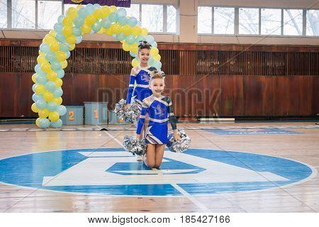 Dneprodzerzhinsk Ukraine - November 12 2016: Qualifying round for the cheerleading competition. Cup
