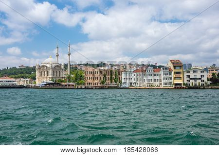 ISTANBUL TURKEY - JUNE 25 2015: Panoramic view of Bosphorus which separates Asian Turkey from European Turkey in Istanbul Turkey
