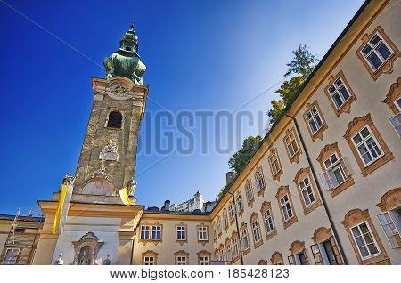 View Of Franciscan Church And Old Street, Salzburg, Austria