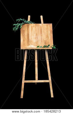 Wooden Easel With A Board. On The Board Written White Paint - Welcome. Isolation On A Black Backgrou