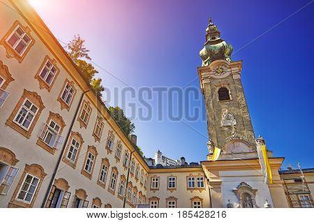 Popular Pedestrian Old Street In Salzburg And Blue Sky At Sunset