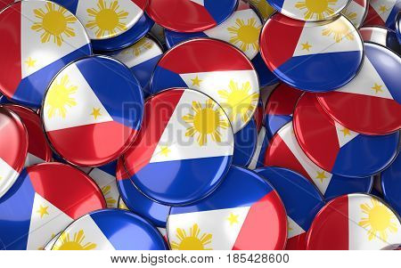 Philippines Badges Background - Pile Of Philippine Flag Buttons.