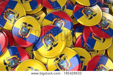 Ecuador Badges Background - Pile Of Ecuadorian Flag Buttons.