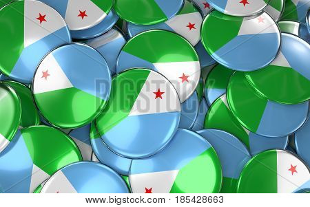 Djibouti Badges Background - Pile Of Djiboutian Flag Buttons.