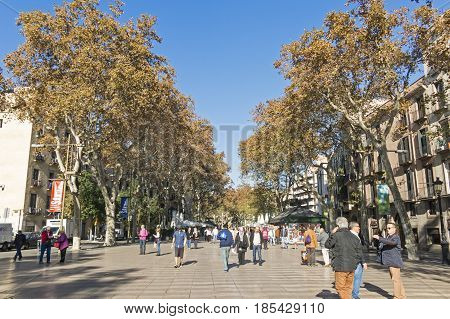 La Rambla Street. The Most Popular Street In Barcelona, Spain