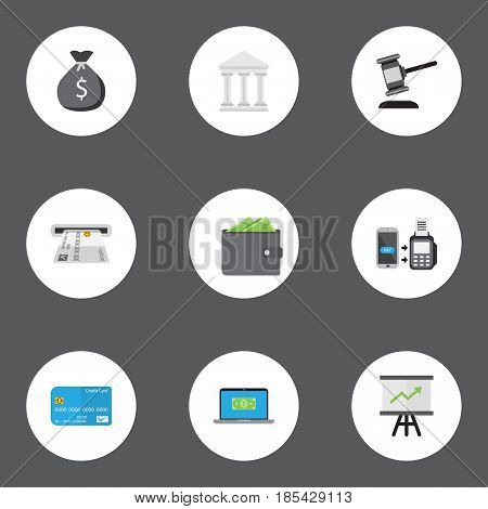 Flat Remote Paying, Verdict, Computer And Other Vector Elements. Set Of Commerce Flat Symbols Also Includes Building, Computer, Laptop Objects.