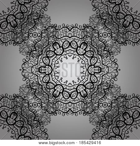 Pattern on gray background. Vector dim mehndi seamless pattern. Ornamental floral elements with henna tattoo dimen stickers mehndi and yoga design cards and prints.
