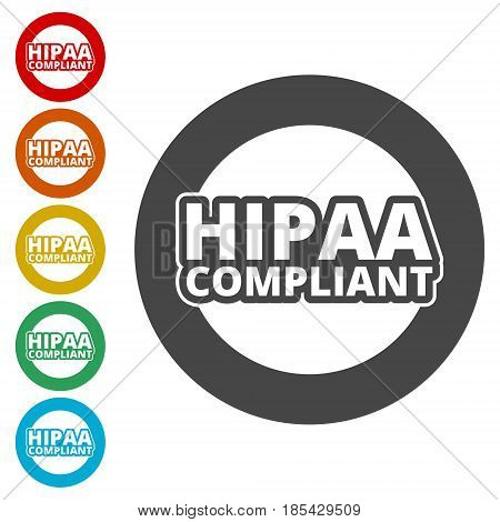 HIPAA - Health Insurance Portability and Accountability Act icons set