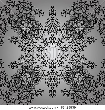 Antique dimen repeatable sketch. Dim element on gray background. Damask seamless repeating pattern. Dim floral ornament in baroque style.