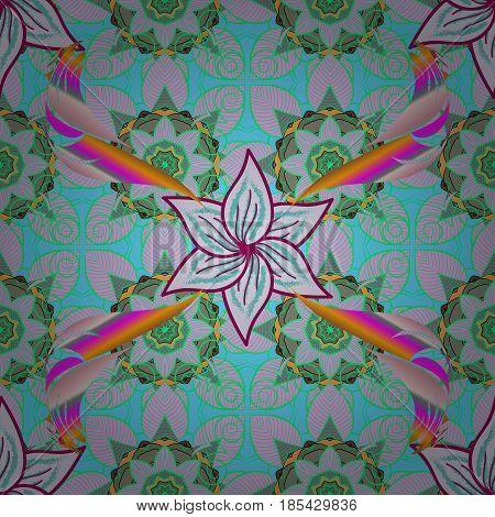 Colorful mandala. Yoga logo background for meditation poster. Decorative colored round ornament. Indian flower mandala. Oriental flourish vector. Anti-stress mandala.