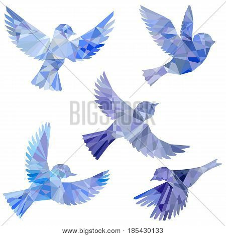 vector set of flying birds polygonal silhouettes, triangulation of songbirds, isolated vector elements