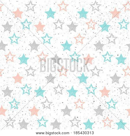 Doodle Star Seamless Background. Grey, Blue And Pink Star.