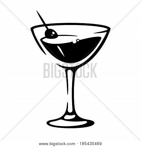 Martini goblet with olive. Glass of vermouth wine. Black and white vector illustration icon