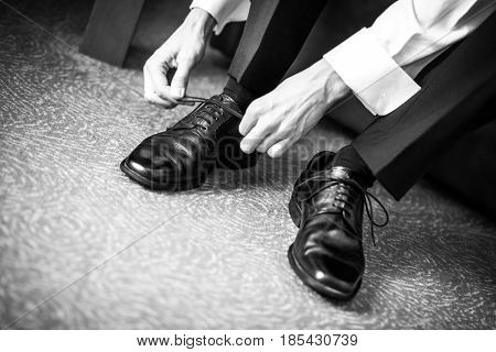 Business man dressing up with classic elegant shoes, Groom agrees shoes