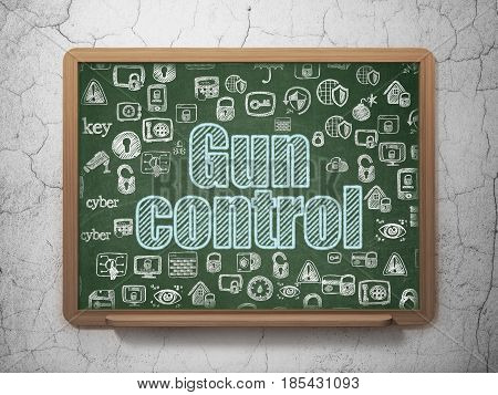 Protection concept: Chalk Blue text Gun Control on School board background with  Hand Drawn Security Icons, 3D Rendering