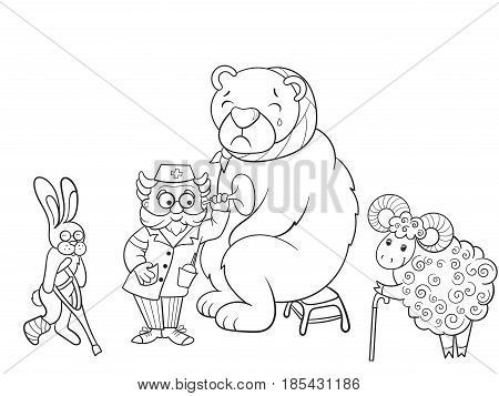 Veterinarian treats animals in the forest object vector illustration. Coloring book educational game for kids educational game. Nature, doctor