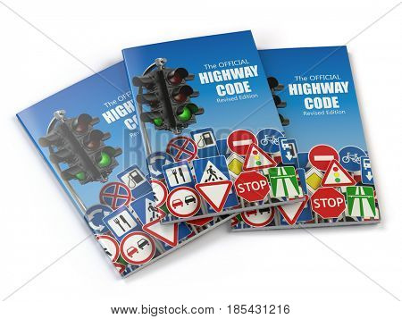 Highway code book.  Book of traffic rules and law with traffic road sign and traffic light. Preparation for exam or driving test concept. 3d illustration