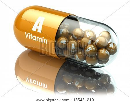 Vitamin A capsule or pill. Dietary supplements. 3d illustration