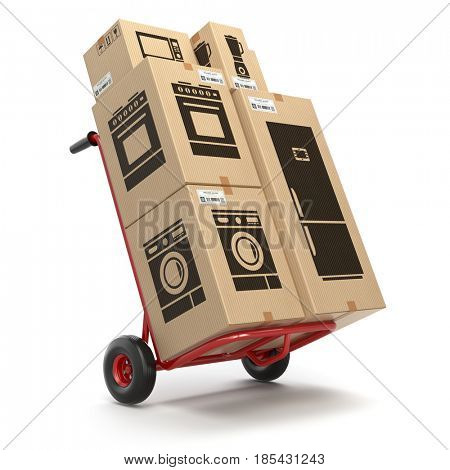 Sale and delivery of household kitchen appliaces concept. Hand truck and cardboard boxes with appliaces. 3d illustration