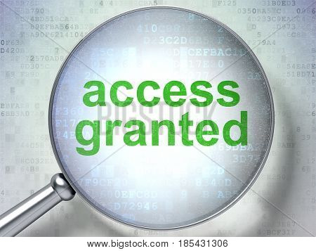 Protection concept: magnifying optical glass with words Access Granted on digital background, 3D rendering