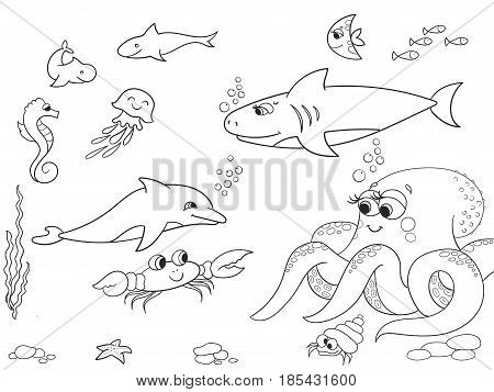 Seabed with marine animals object. Vector coloring for kids, cartoon. Fish, octopus, shark, dolphin, boat, fishing, starfish, fish moon crab cancer bottom seaweed waves and sea horse