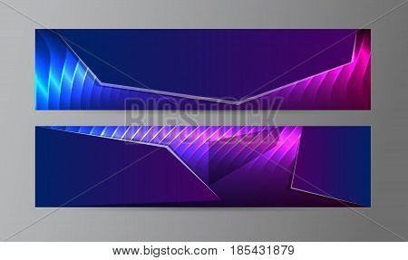 Horizontal Web Banner Background Blue Purple Neon Effect04