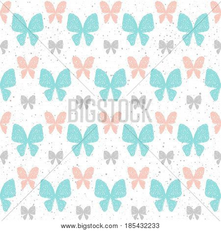 Doodle Butterfly Seamless Background. Grey, Blue And Pink Doodle Butterfly.