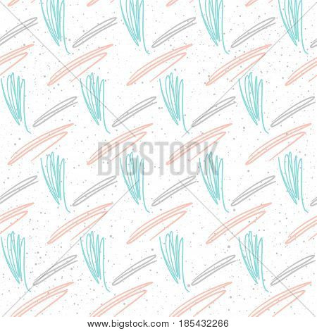 Doodle Line Seamless Background. White, Pink And Blue Line.