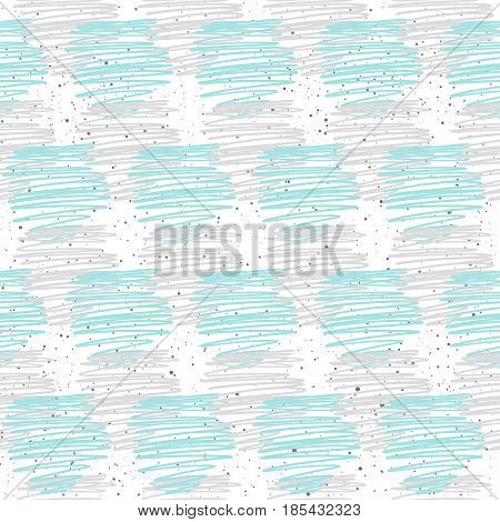 Doodle Line Seamless Background. Grey And Blue Line.