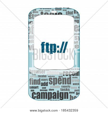 Ftp Text. Global Communication Concept . Detailed Modern Smartphone Isolated On White