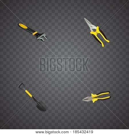 Realistic Spade, Scissors, Pliers And Other Vector Elements. Set Of Kit Realistic Symbols Also Includes Pliers, Tool, Shear Objects.
