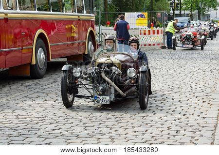 BERLIN - MAY 11: V-Twin three-wheelers Morgan Super Sports 26. Oldtimer-Tage Berlin-Brandenburg May 11 2013 Berlin Germany