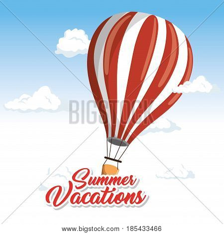 Floating air balloon surrounded by clouds and summer vacations sign over white and blue background. Vector illustration.