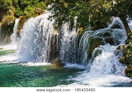Waterfall in Croatia, Krka National park lake