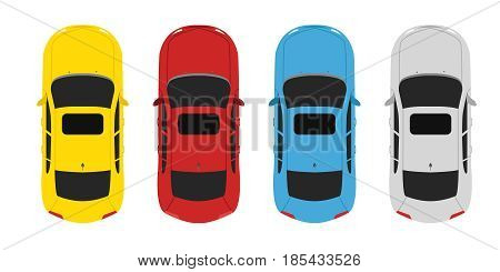 Parking color set cars above view, yellow, red, blue and white