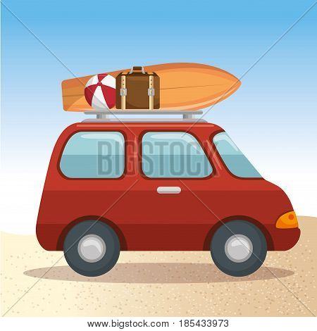 Car carrying suitcase, beach ball and surf board over beach background. Vector illustration.