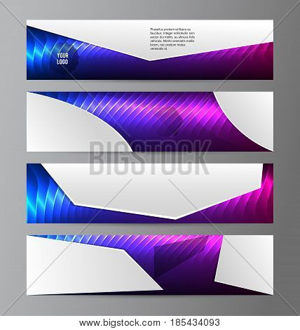 Horizontal Web Banner Background Blue Purple Neon Effect06
