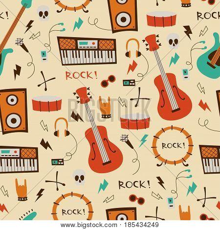 Abstract Music Seamless Pattern.  Rock Music Seamless Background.
