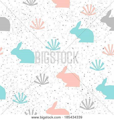 Rabbit Seamless Background. Grey, Blue And Pink Rabbit.