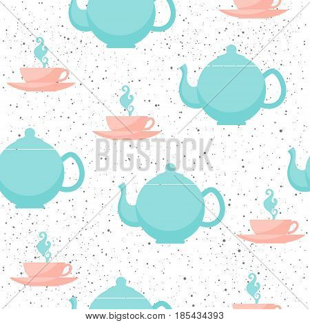 Tea Cup And Teapot Seamless Background. Grey, Blue And Pink Cup And Teapot.