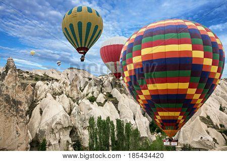 Cappadocia, Turkey - May 8, 2017: Hot air balloons in Goreme