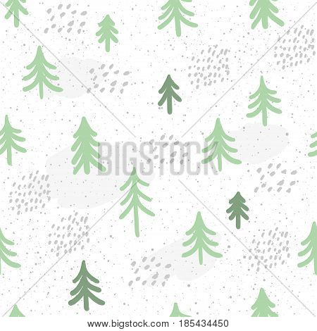 Winter Time Seamless Pattern Background. Hand Drawn Green Spruce