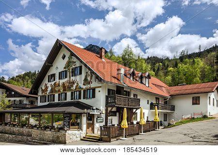 Bavaria, Germany - May 8, 2017: Rural painting house in village Oberammergau, Bavaria, Germany