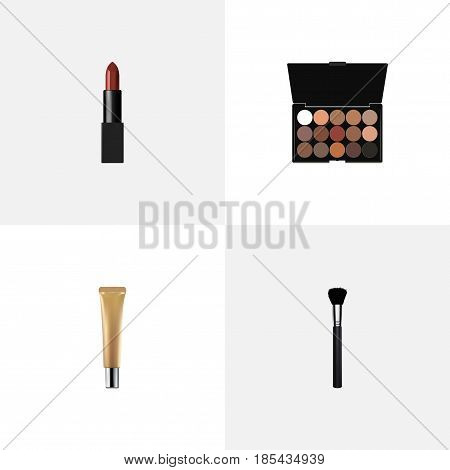 Realistic Multicolored Palette, Pomade, Fashion Equipment And Other Vector Elements. Set Of Maquillage Realistic Symbols Also Includes Highlight, Eye, Eyeshadow Objects.