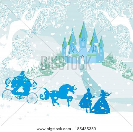 Castle and princess with prince on winter landscape , vector illustration