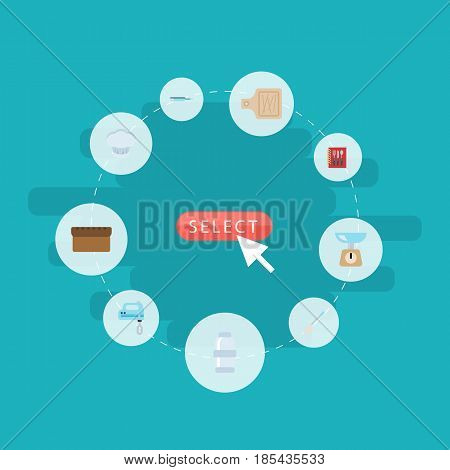 Flat Chef Hat, Kitchen Measurement, Spice And Other Vector Elements. Set Of Kitchen Flat Symbols Also Includes Scales, Blender, Bakery Objects.