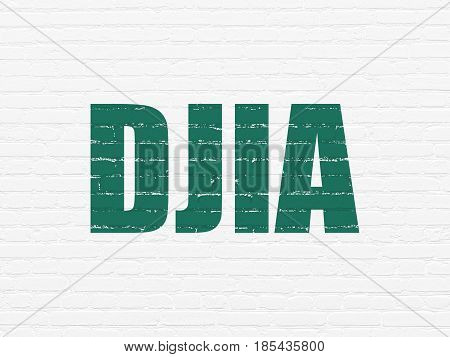Stock market indexes concept: Painted green text DJIA on White Brick wall background